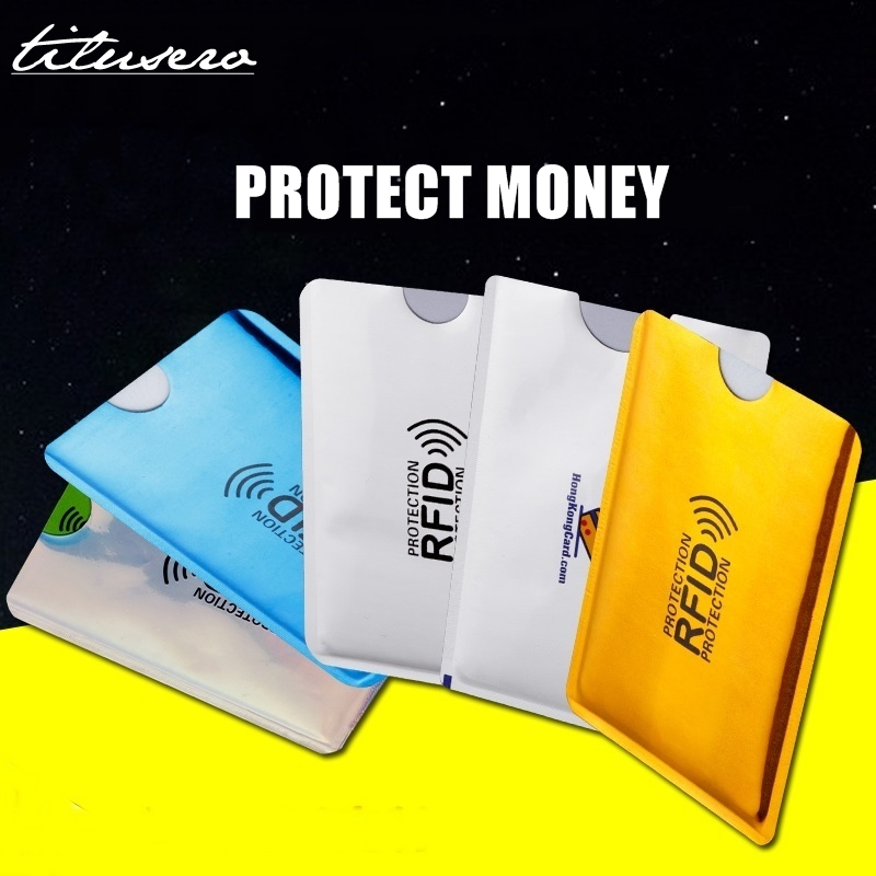 5PC Colorful Anti Rfid Credit Card Holder Bank ID Card Bag Cover Holder Identity Protector Case Portable Business Card Holder