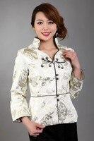 Free Shipping Wholesale Retail White New Chinese Women's Silk Satin Jacket Spring Flowers Coat Size S M L XL XXL XXXL MN 0095