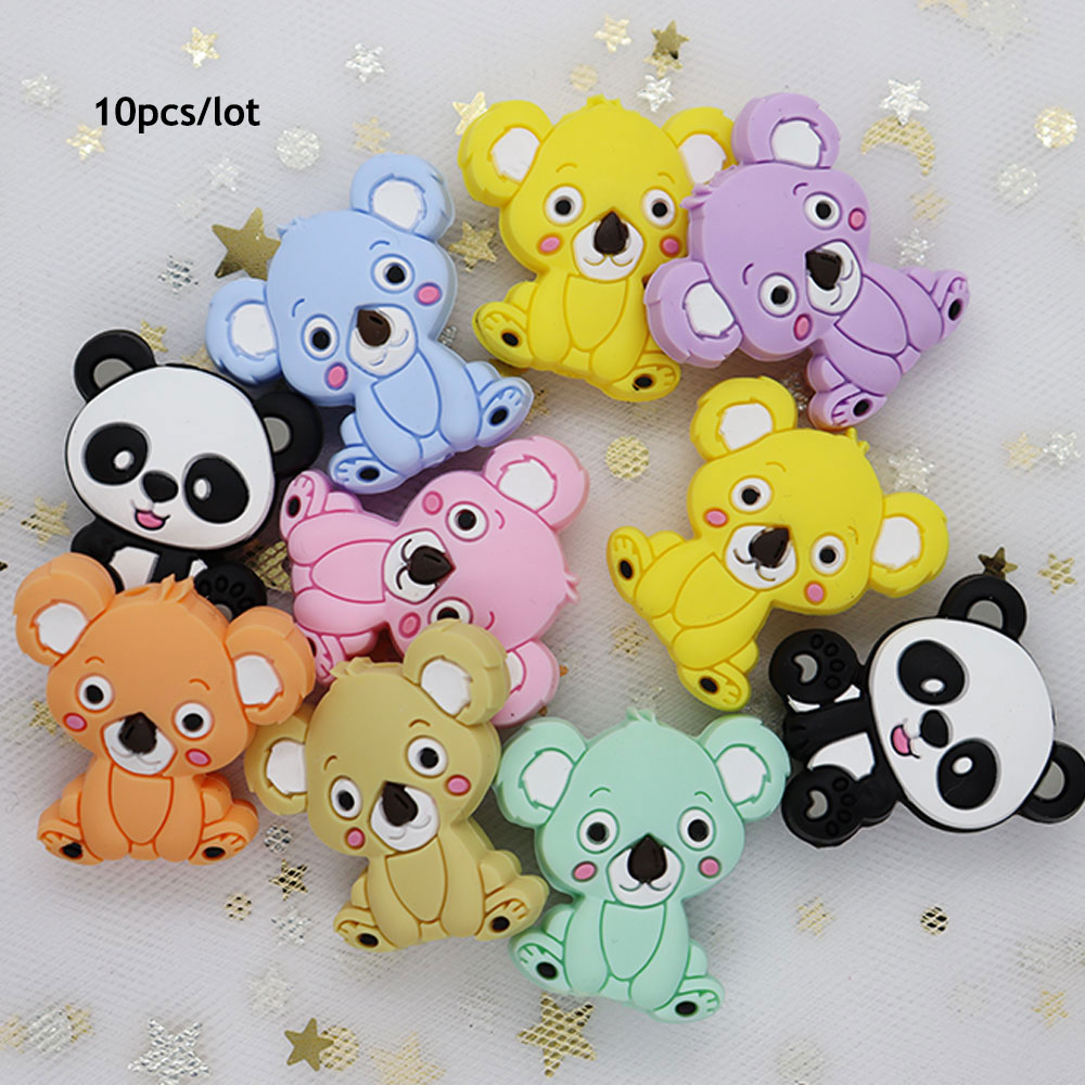 10Pcs Koala Panda Perle Silicone Beads For Jewelry Making Teething Necklace Beads Animal Baby Teether Toys Nursing Mordedor Bead