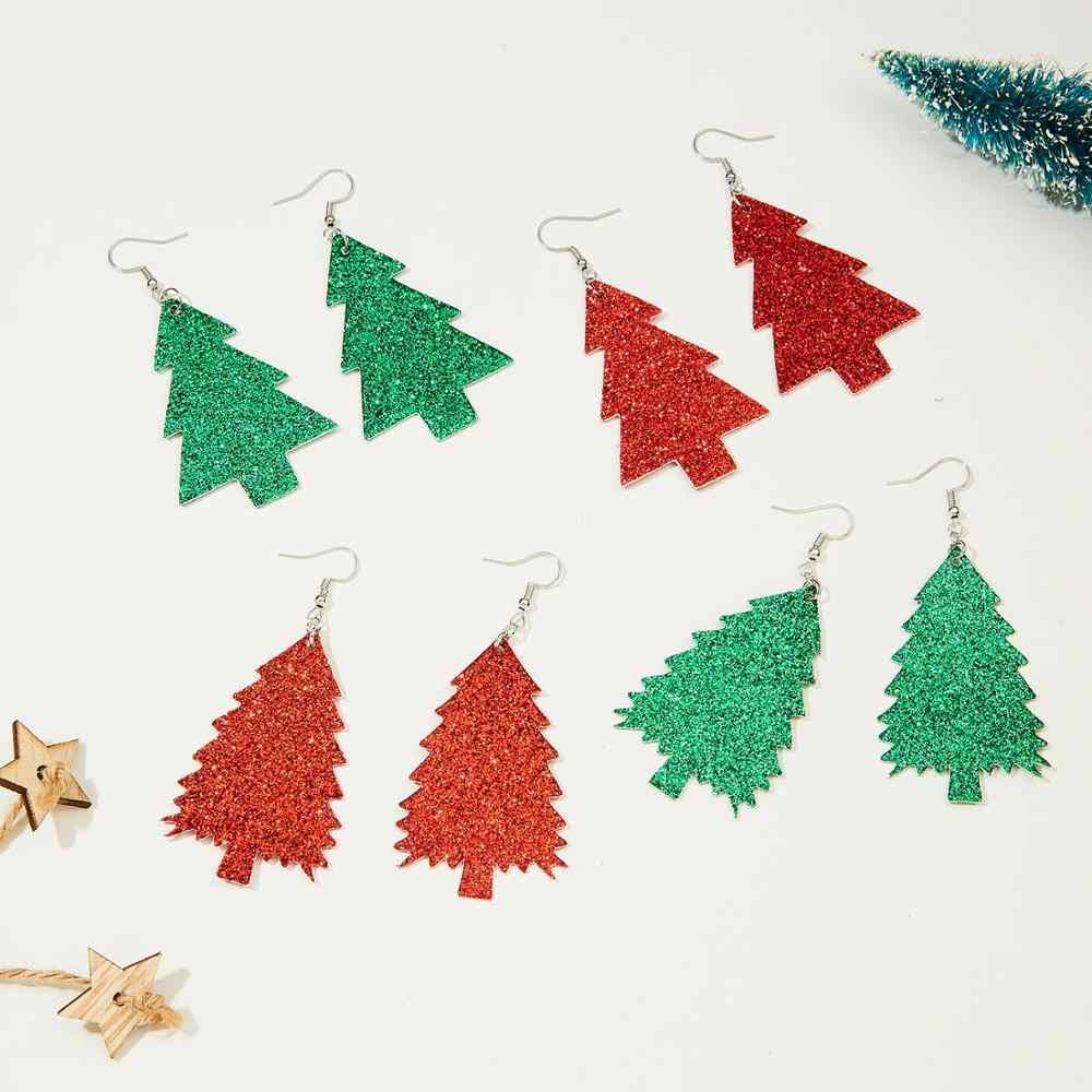 Brincos de natal árvore de natal orelha jóias sorte azul olhos vermelhos couro do plutônio balançar brinco glitter lantejoulas planta alvo brincos
