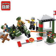 Military Series Army Soldiers Car Model Building Block ENLIGHTEN Figure Bricks Toys For Children Christmas Gift Compat Legoingly new arrive 6 styles policemen soldiers military doll model toys for children learning playing christmas gift