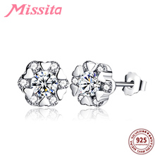 MISSITA 925 Sterling Silver Clear Crystal Heart Snowflake Earrings For Women Silver Jewelry Brand Stud Earrings Party Gift missita 925 sterling silver rose gold star earrings with cz crystal for women silver jewelry brand stud earrings party gift
