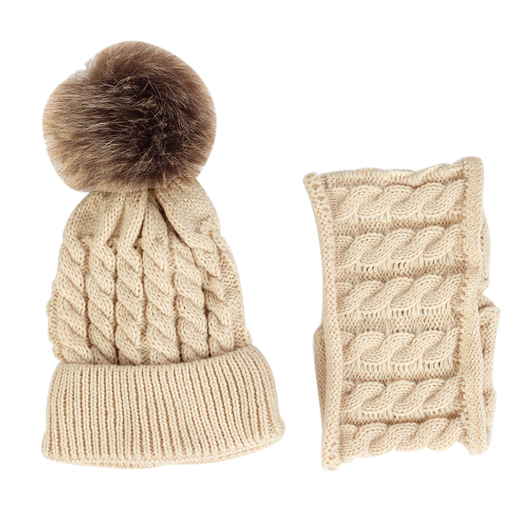 2PCS Knitted Daily Autumn Winter Outfit Soft Warm Woolen Yarn Baby Kids Cute Gift Neckerchief Hat Scarf Set Unisex Striped