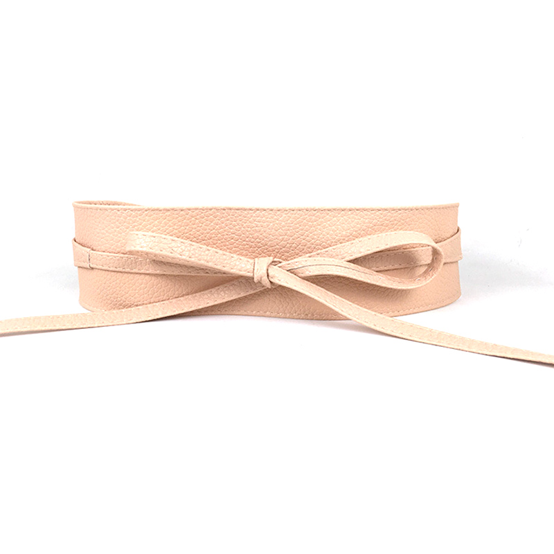 Fashion Ladies Bow Wide Belts 1PC New Graceful 12 Colors PU High Quality Solid Color Belts Unique Women Dress Accessories