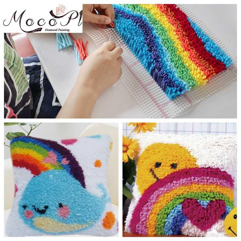 Crochet de dessin animé | Broderie de tapis, Kits de crochets, bricolage, point de croix, oreiller en laine, 3D, Kits de crochet de loquet, toile de tapis, cadeau