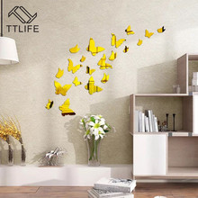 TTLIFE Environmentally Removable Butterfly Mirror Sticker Background Solid Wall Stickers Home Decoration Friendly Decals