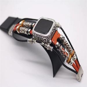 Image 1 - Moda retro Metal kasa bilezik kayışı için Apple saat bandı serisi 1 2 3 4 5 deri bileklik 38 42 40 44mm bağlantı kemer