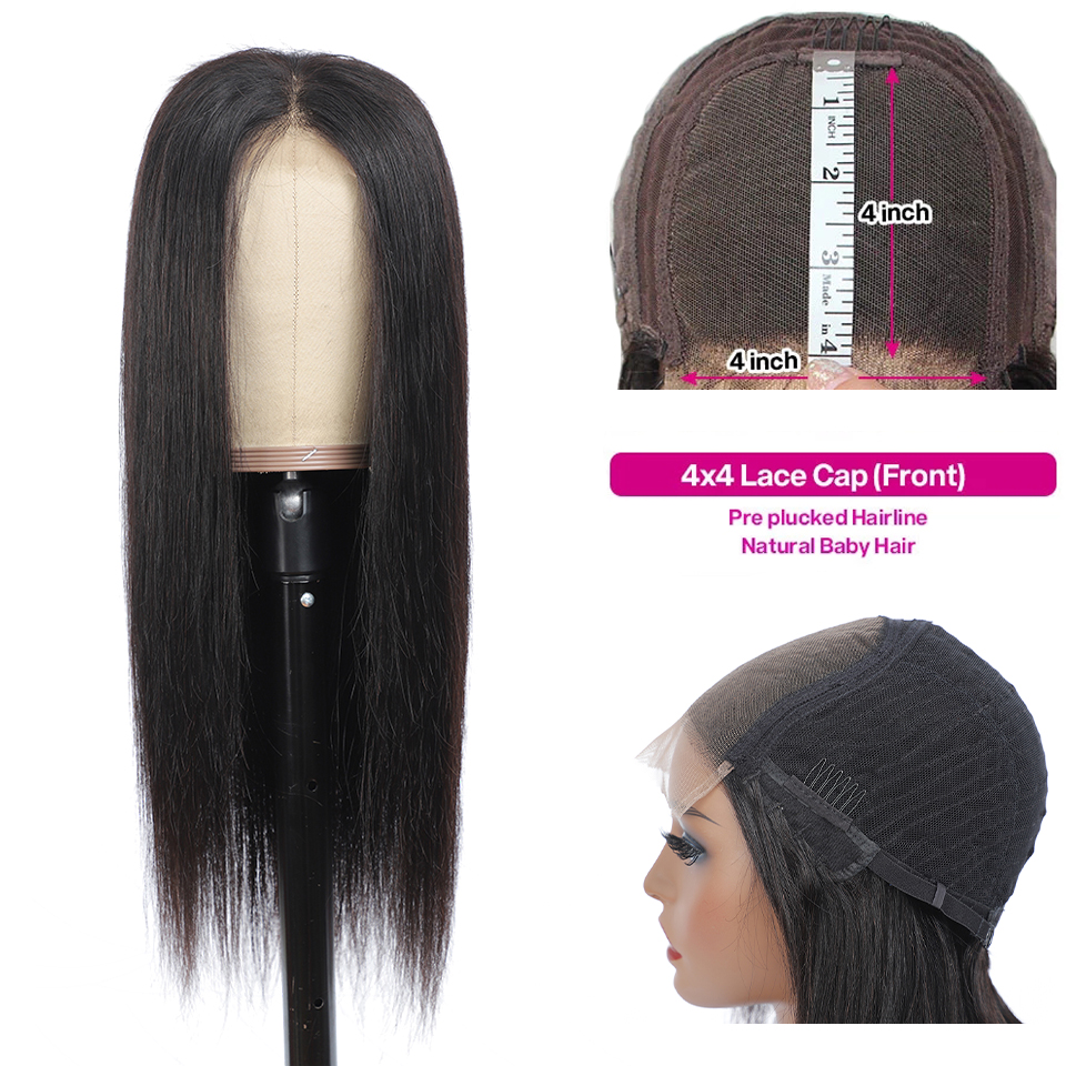 Lace Closue  Wigs Pre Plucked Glueless   Straight 4X4 Lace Frontal Wig with Baby Hair  5