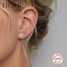 ROXI Simple Letter V Shape Stud Earrings for Women Fashion Jewelry Korean Earring 100% 925 Sterling Silver Earrings Wedding Gift