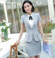 Fashion Splice women skirt suits set elegant Business formal short sleeve office ladies plus size work uniforms grey red black