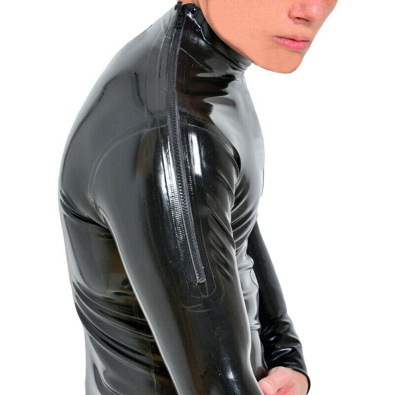 Мужской латексный комбинезон ручной работы, с двумя плечами, на молнии, сексуальный Облегающий комбинезон с молнией на промежности