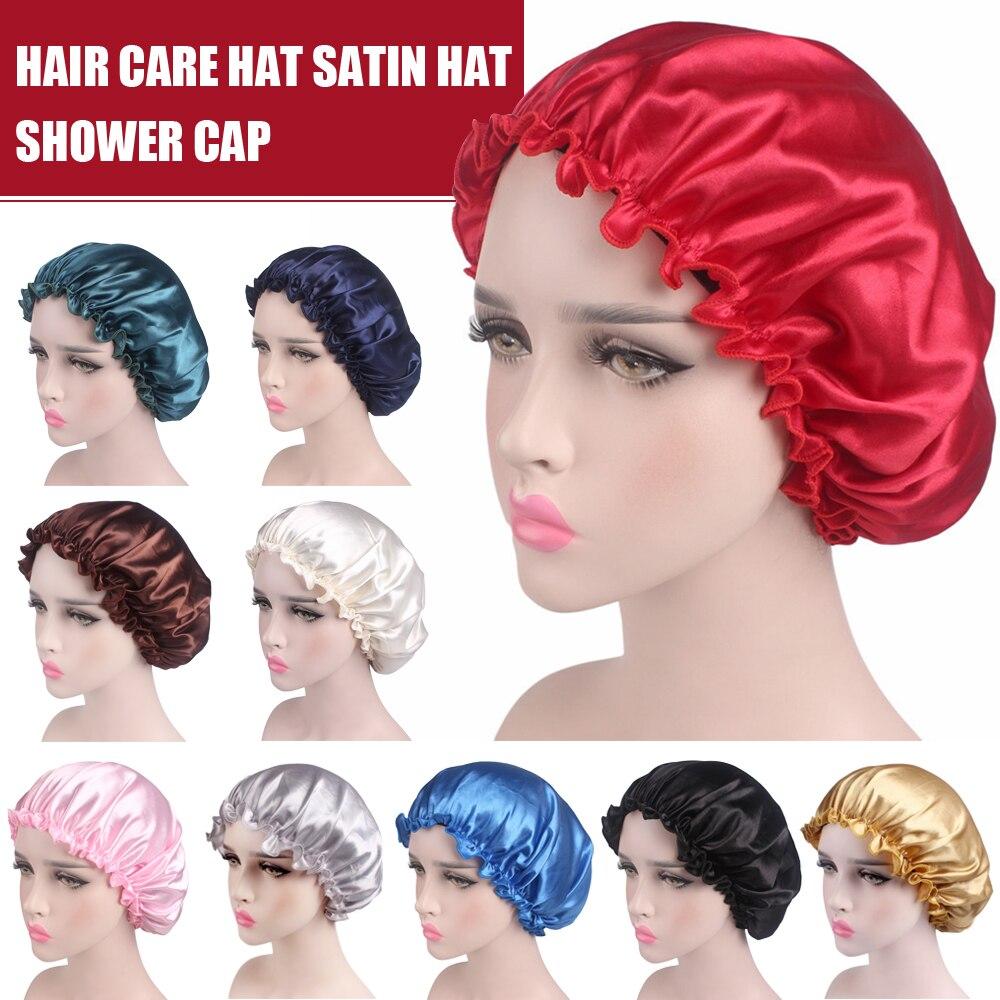 New Fshion Adult Shower Caps Women Satin Night Sleep Cap Hair Bonnet Hat Silk Head Cover Wide Elastic Band Adult Shower Caps