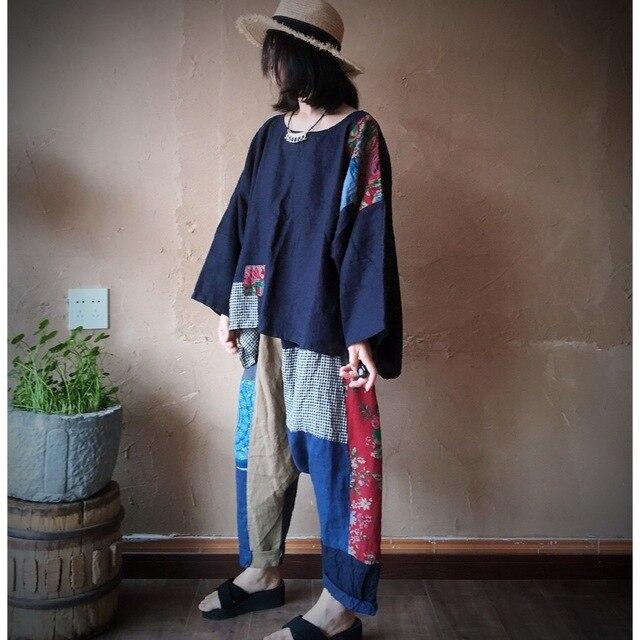 Women Linen  Patchwork Plus Size Blouse Tops Ladies Vintage Flax Spliced Oversize Shirts Female 2020 Summer Autumn Blouses 2