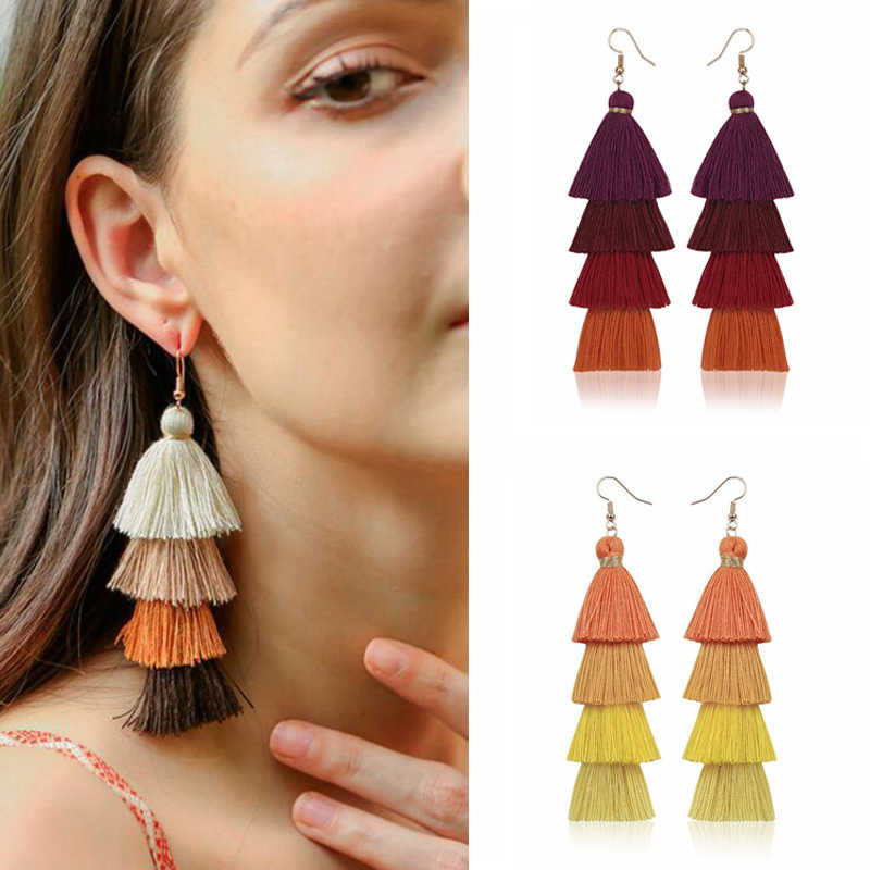 2019 Hot Bohemian Fringe Panjang Gradien Multilayer Drop Anting-Anting Perhiasan Wanita Fashion Menjuntai Kain Sutra Etnik Rumbai Anting-Anting