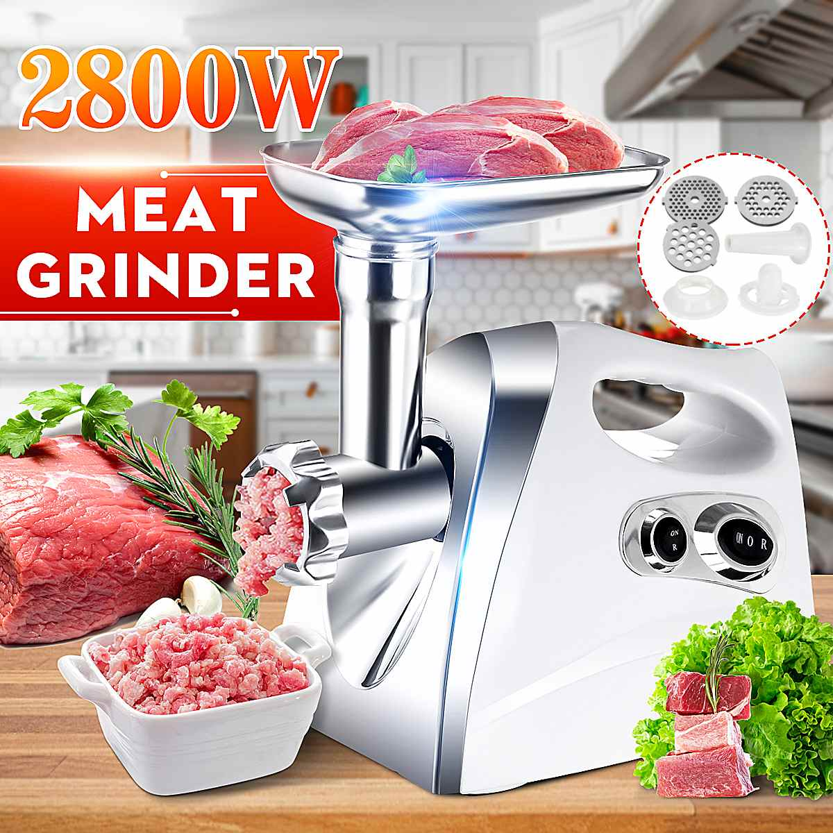 2800W Electric Meat Grinder Sausage Maker Stainless Steel Powerful Food Grinding Cutter Stuffer Meat Mincer Slicer DIY Grinders