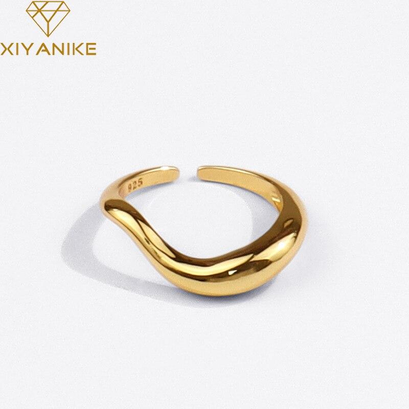 XIYANIKE 925 Sterling Silver 2021 nowy skręcony pierścień kreatywny geometria moda gładki Temperament francuski biżuteria luksusowe Handmade