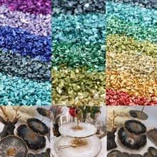 20 g/partia szkła metalu kruszony kamień wypełniacz DIY dekoracja stołu ciasto owoce Coaster wypełnienie dekoracyjne kryształ dla żywicy epoksydowej formy