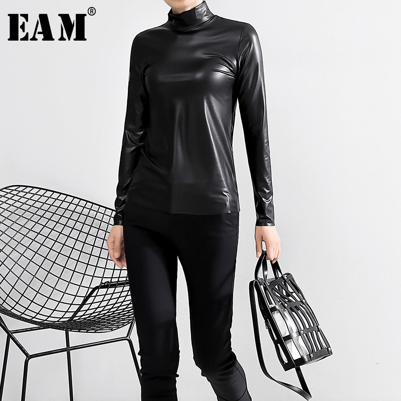 [EAM] Women Black Brief Pu Leather Temperament T-shirt New Stand Collar Long Sleeve  Fashion Tide  Spring Autumn 2020 JY93301