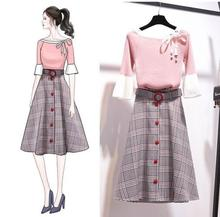 ICHOIX Office ladies 2 Piece Set Women Clothing Sweet tops and skirt Two Outfits Korean style Winter Plaid Skirt