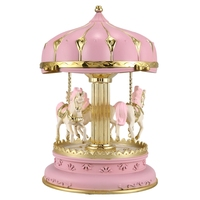 ABSS-LED Music Box Carousel Round Music Boxes Decor Glowing Carousel Horse Music Box Christmas Wedding Birthday Gift