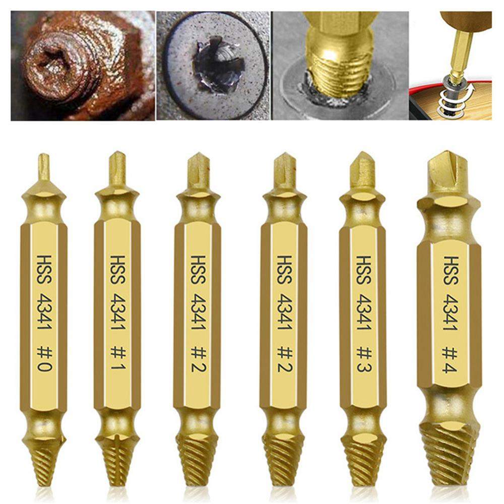 6pcs Damaged Screw Extractor Drill Bits Guide Set Broken Speed Out Easy Out Bolt Screw High Strength Remover Tools