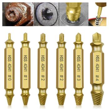 цена на 6pcs Damaged Screw Extractor Drill Bits Guide Set Broken Speed Out Easy out Bolt Screw High Strength Remover Tools