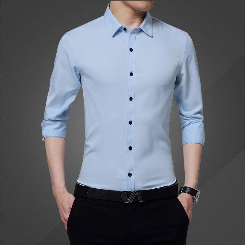 2020 New Fashion Mens Shirts Men Long Sleeve Shirt Turn Down Slim Causal Shirts High Quality Shirts
