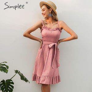 Image 4 - Simplee שרוולים נשים כותנה שמלה אלגנטי Ruched sashes bow midi קיץ שמלות סקסי מוצק נקבה המפלגה vestidos 2019