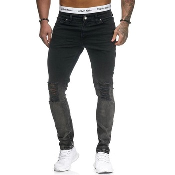 New Jeans young men Ripped jeans for men Skinny slim jeans pants Black Cotton Denim Men Jeans Denim Pants #828 фото