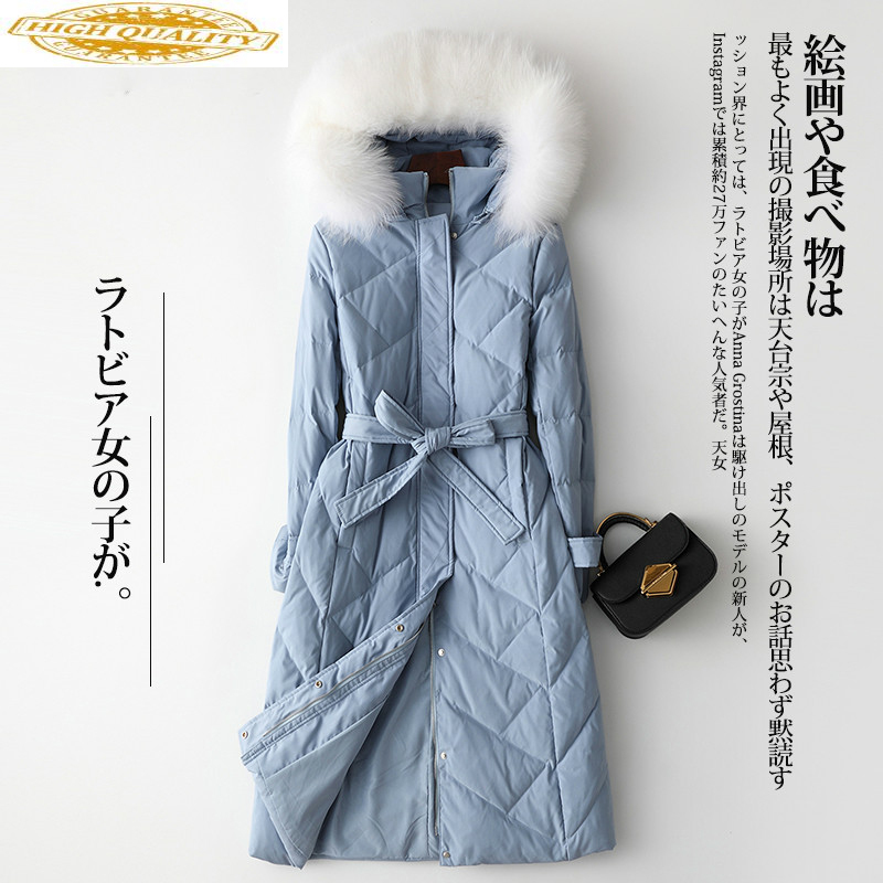 Autumn Winter Women's Down Jacket Fox Fur Collar Hooded Long Coat Female Puffer Womens Jackets 2020 TLR2181 KJ2468