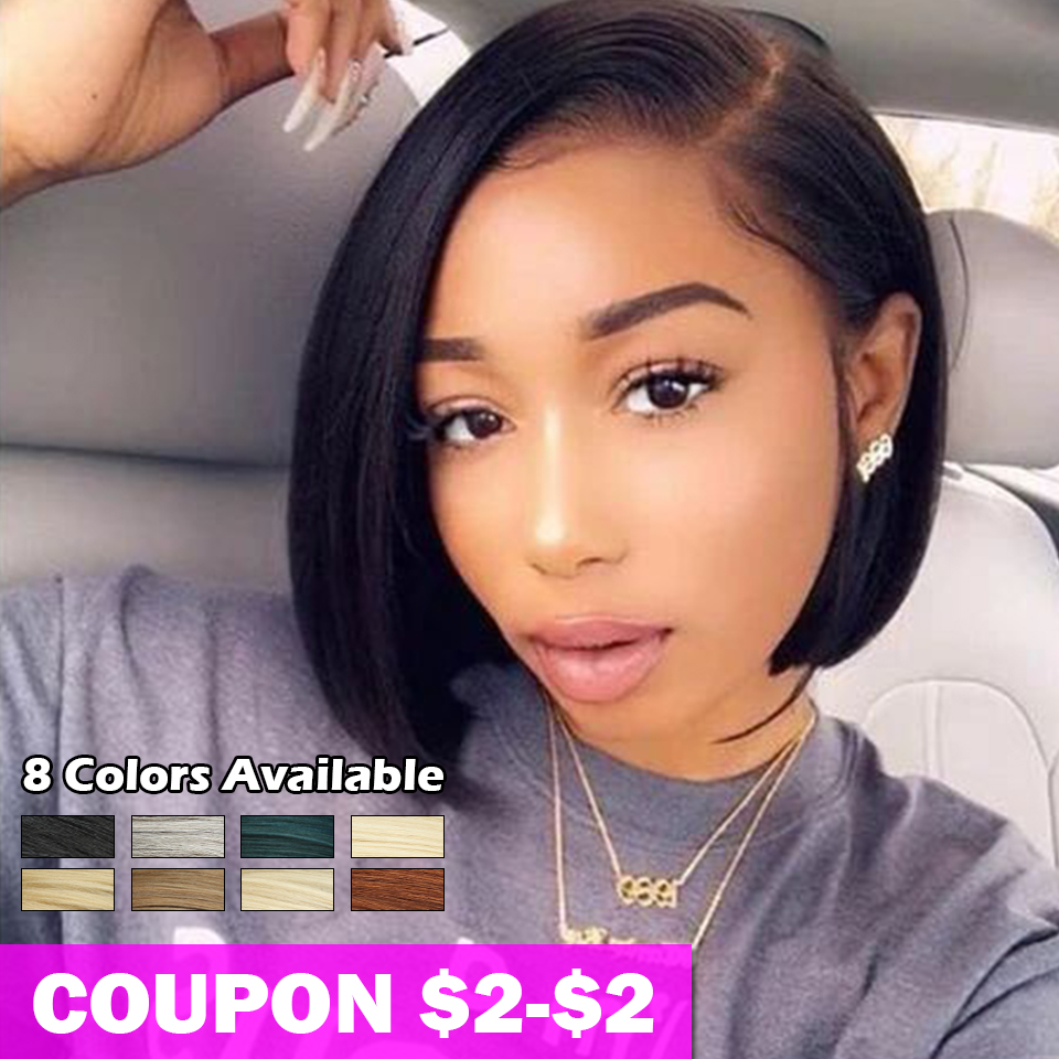 Bella Short Blonde BOB Wig For Women 10 Inches Synthetic Lace Front Wig Black Ombre 613 Brown Straight Synthetic Hair Side Part