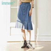 אינמן 2020 אביב חדש הגעה ספרותי רטרו בינוני Waistt סדיר מכפלת תחתונה אחת חזה חצאית