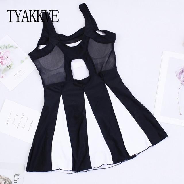 Tankini Swimsuit Women Swim Skirt Plus Size One Piece Print Swimwear 2019 Tankini Femme Vintage Large Size Swim Mesh Beach wear 3