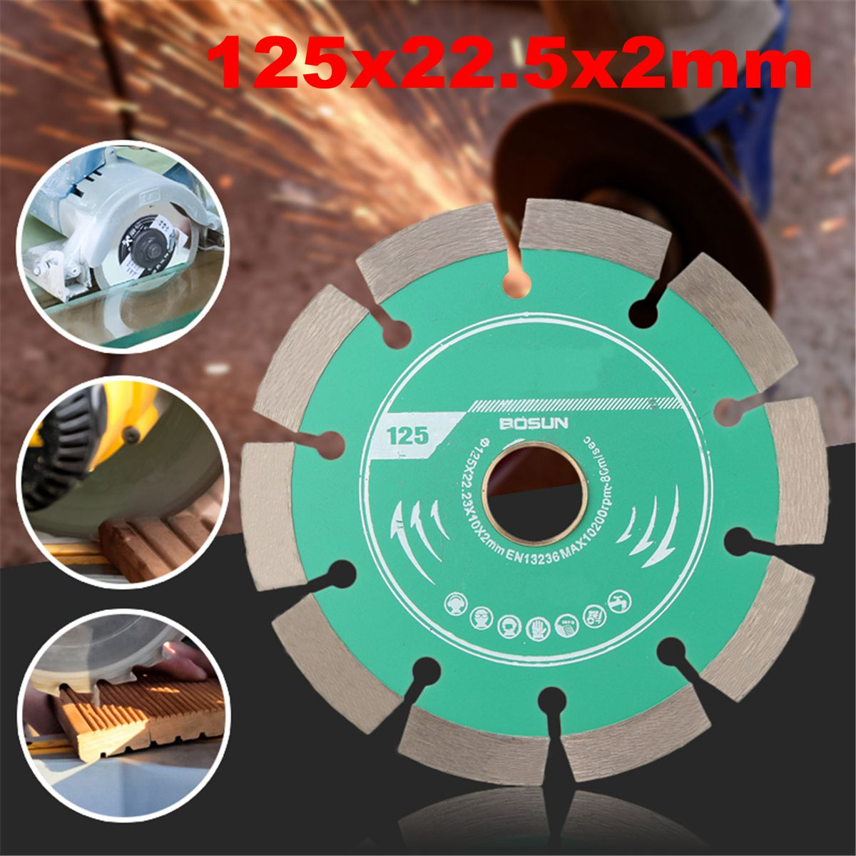 1pcs 125mm Metal Alloy Diamond  Wheel Cutting Disc For Concrete Marble Masonry Tile Thickness 2mm Engineering Cutting
