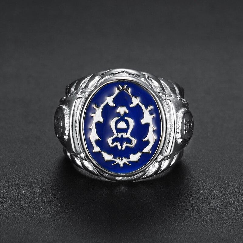 Лига героев синим камнем; Новейшая модель; Крутые модные Цвет Wow мужские кольца альянс игры вентиляторы вечерние ремешок