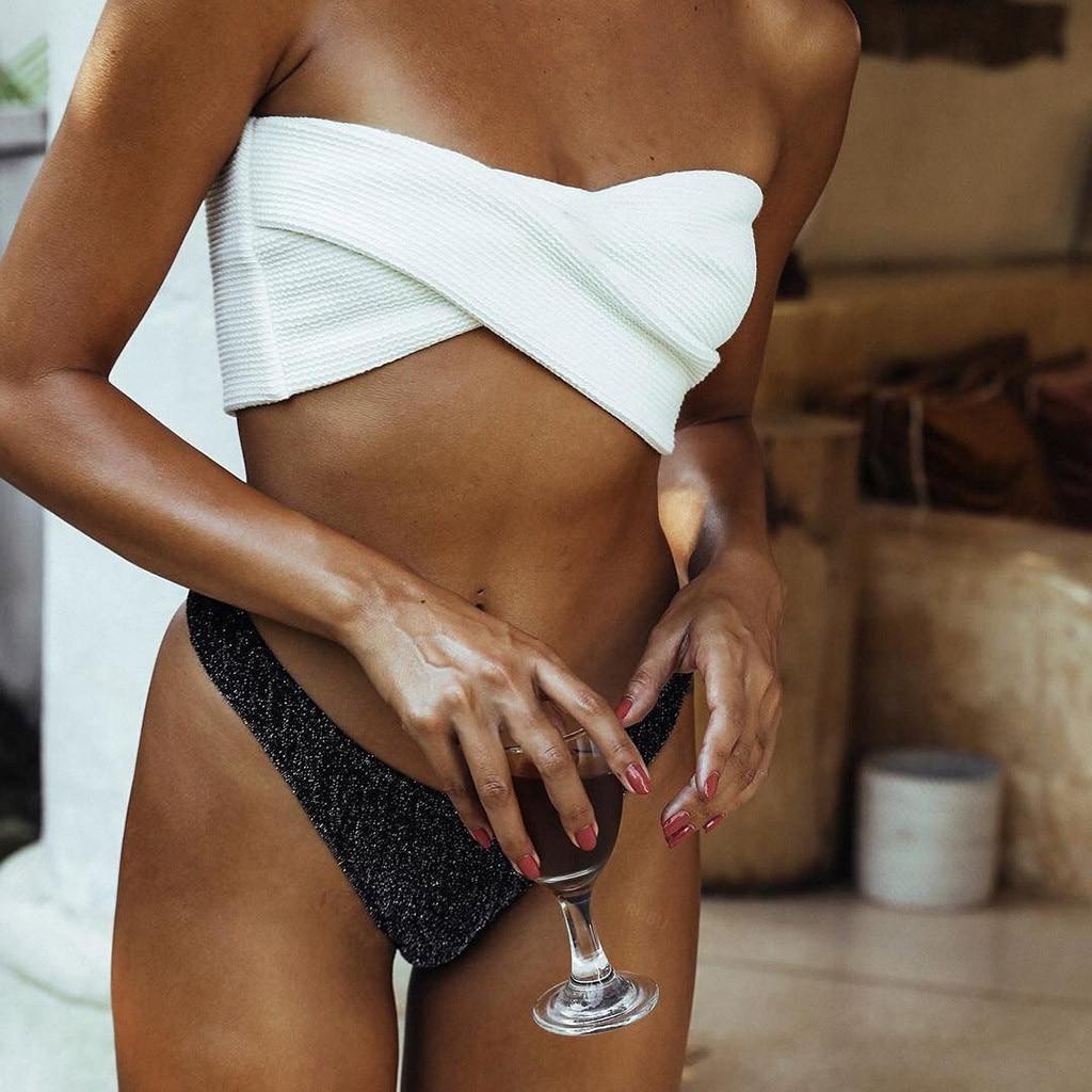 #Z25 Solid Separate Swimsuit Bandeau Bikini Set Women Push Up Bikini  Beach Wear Swimwear Beachwear Maillot De Bain Femme