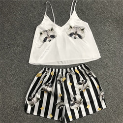 Vrouwen Leuke Pyjama Set Cartoon Animal Print Spaghetti Band Causale Top Shorts Nachtkleding Suits Sexy Losse Zijde Vrouwelijke Thuis Pak