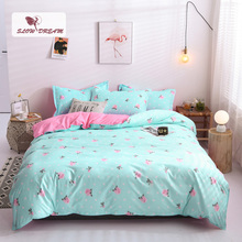 SlowDream Fashion Flower Printed Blue Bedding Set Pink Duvet Cover Comforter Single Double Flat Sheet Bedspead Bed Wholesale