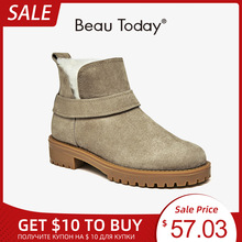 Snow-Boots Platform Beautoday Genuine-Leather Female Winter Women Ankle Wool 03280 Handmade
