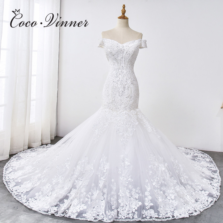 Quality African Mermaid Wedding Dress 2019 New Design Lace Appliques Embroidery Beaded Wedding Dresses Trumpet Bride Gown WX0033