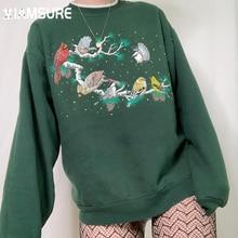 IAMSURE Birds Printed Sweatshirts Sutumn Winter Streetwear Casual Loose Long Sleeve Pullovers Women 2021 Streetwear Tops Ladies