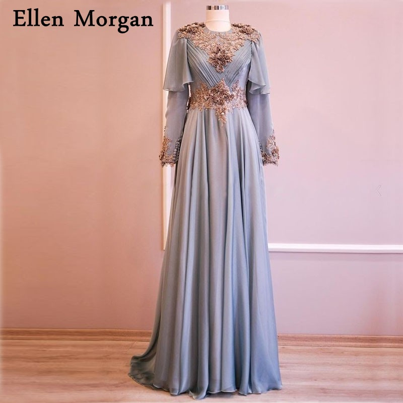 Muslim Long Sleeves Evening Dresses 2020 Special Occasion Actual Images Lace Chiffon Arabic Moroccan Formal Gowns For Women Wear