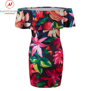 Women Bodycon Dress Patchwork Design Off Shoulder Short Sleeve Flower Print Mini Dress Lady Summer Slim Party Streetwear Dress 4