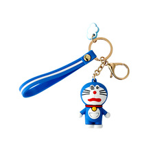 1 piece sweet artificial real fur made cats toy sleep baby kat kittens pussy cat doll decorations birthday gift for child girls Cartoon Doraemon  Keychains Cat Doll Toy Leather Rope Bell Kids Princess Key chain Fluffy Rabbit Fur Pom Girls Birthday Gift
