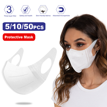 5/10/50pcs 3D Disposable Mask, Elastic Cloth Ear Straps Sanitary Safety 3-Layers Face Mask White