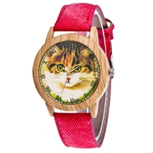 Kawaii Children Quartz Watch Red Ladies Canvas Strap Animal Cat Pattern Imitatio