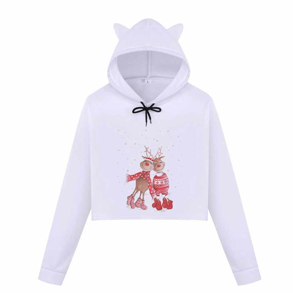 作物のスエットシャツの女性プリント女性のクリスマス雪のプリント猫耳フード付きブラウスプルオーバースウェットシャツ sudadera mujer