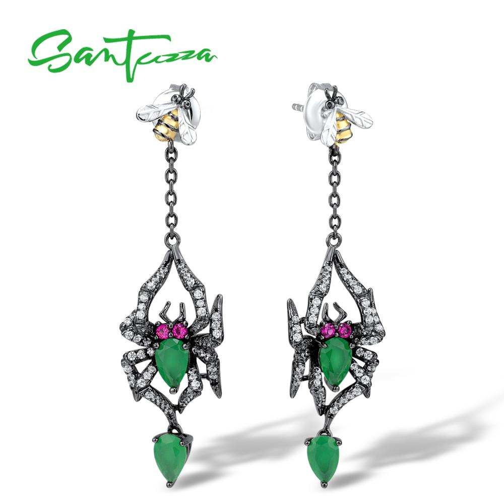 SANTUZZA 925 Sterling Silver Earrings Jewelry Earrings For Women Spider Earrings 925 Sterling Silver Party Fine Jewelry