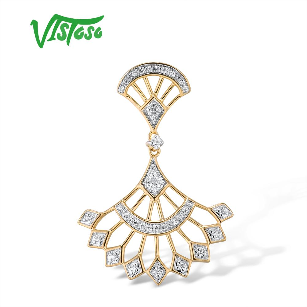 VISTOSO Gold Pendants For Women Authentic 14K 585 Yellow Gold Sparkling Diamond Promise Engagement Anniversary Fine Jewelry