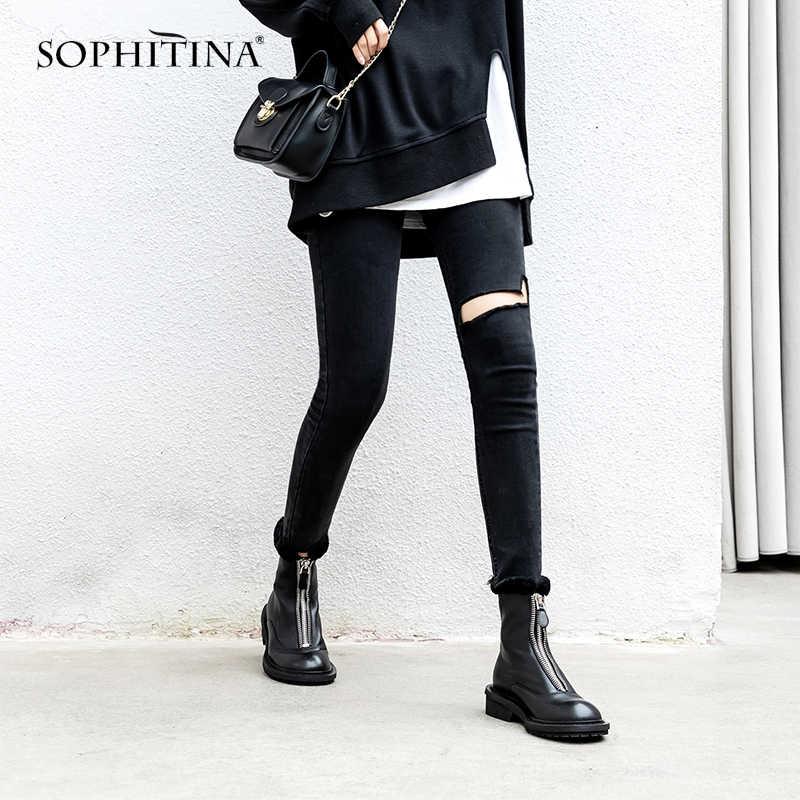 SOPHITINA serin tasarım bot yüksek kalite hakiki deri moda fermuar katı yeni yuvarlak ayak ayakkabı kadın Martin çizmeler PO311
